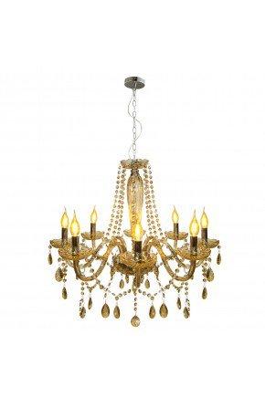 lustre cristal baronesa vidro 8xe14 champanhe lili casa e construcao