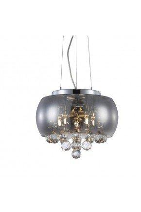 luminaria lustre cristal magnum 35cm fume blumenau lili casa e construcao