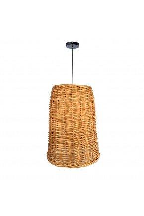 luminaria cone detalhe 45 fibra natural vime fundo madeira lili casa e construcao